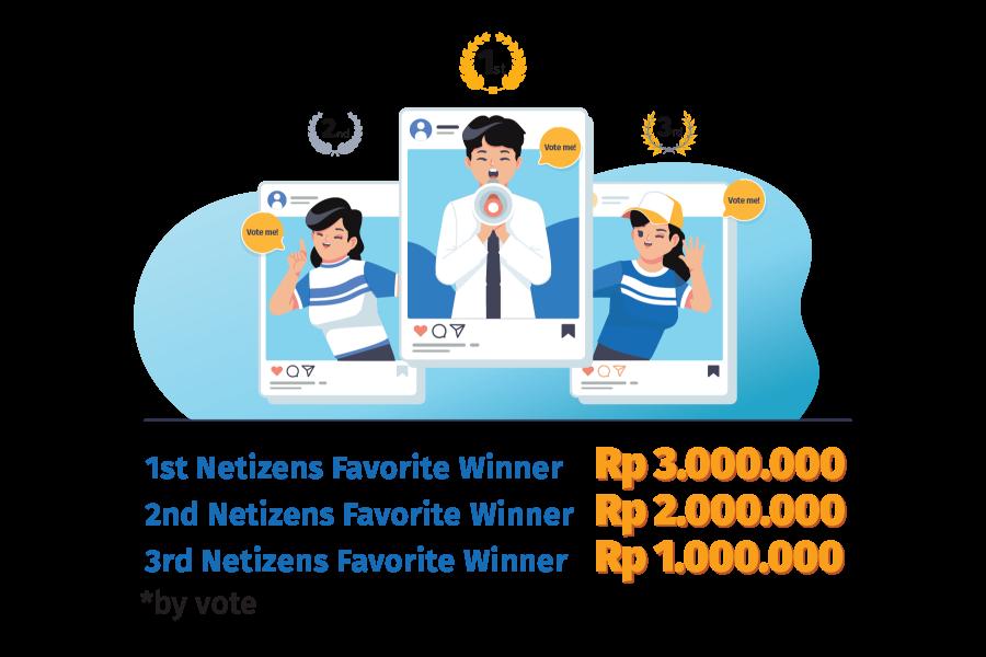 1st Netizens Favorite Winner (by vote) Rp 1.000.000 2nd Netizens Favorite Winner (by vote) Rp 1.000.000 3rd Netizens Favorite Winner (by vote) Rp 1.000.000